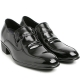 "Mens 2.4"" UP black real cow Leather increase height studded Shoes made in KOREA US 5.5 - 10"