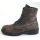 Mens vintage raise round toe contrast stitch increase height eyelet lace up side zip hidden insole combat ankle boots Brown