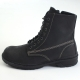 Mens vintage raise round toe contrast stitch increase height eyelet lace up side zip hidden insole combat ankle boots Black