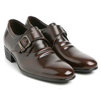 "Mens 2.6"" UP cow Leather increase height monk front buckle Shoes brown made in KOREA US 5.5 - 10"