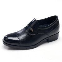 "Mens 2.4"" UP black real Leather increase height slip-on straight tip Shoes made in KOREA US 6.5 - 10"