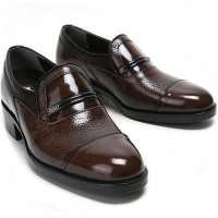 "Mens 2.4"" UP real Leather increase height straight tip slip-on Shoes brown made in KOREA US 6.5 - 10"