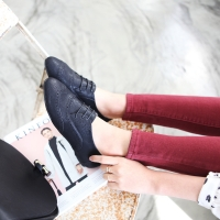 Womens chic black punching wingtip lace up oxford hidden insole elevator shoes