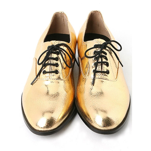 Mens Glitter Gold Lace Up Oxfords Dress Shoes