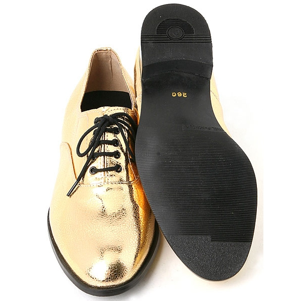 Mens oxford Lace Up dress shoes glitter gold made in KOREA US 5.5 - 10