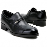 "Mens 2.4"" UP real Leather increase height straight tip slip-on Shoes black made in KOREA US 6.5 - 10"
