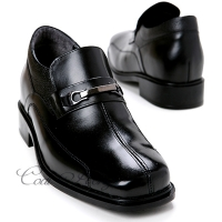 "Mens 3.2"" UP real Leather increase height slip-on studded Shoes black made in KOREA US 6.5 - 10"