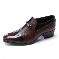 Mens brown leather horse bit high heel loafers slip on shoes US5.5-10