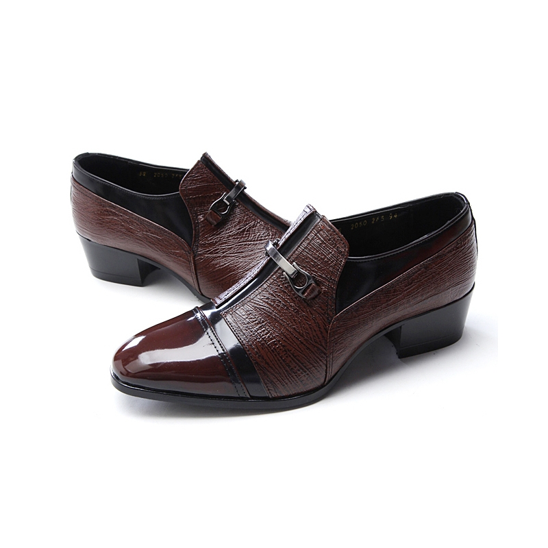 mens brown leather bit high heel loafers slip on shoes
