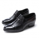 Mens straight tip black leather horse bit studded high heel loafers slip on shoes