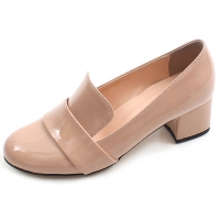chic beautiful glossy comfortable bold 2 inch heels ladies designer loafers beige shoes for women