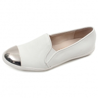 chic metallic round toe real leather white womens loafers comfortable fashion ladies shoes