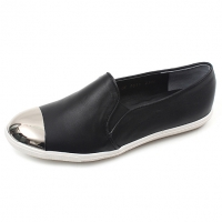 Womens chic glitter sliver round toe black genuine Leather loafers comfort wear deaily fashion shoes for ladies