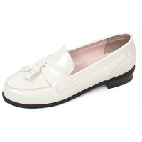 Womens white glossy tassel loafers comfortable fashion low heel ladies shoes