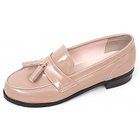 Womens pink glossy tassel loafers comfortable fashion low heel ladies shoes