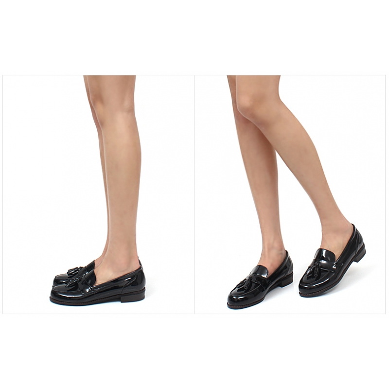 Black Wedge Loafer Shoes