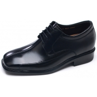 Mens square toe black cow leather lace up high heels increase height elevator shoes comfortable korea dress shoes US5.5-10