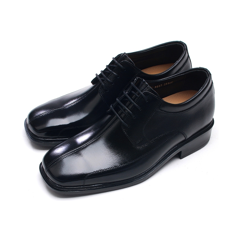 Mens Square Toe Black Cow Leather Lace Up High Heels