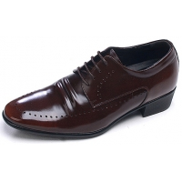 Mens round toe punching detail lace up brown cow leather increase height elevator hidden insole dress shoes US5.5-US10
