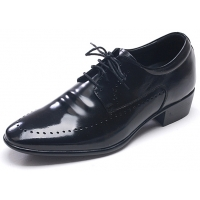 Mens round toe wrinkle punching detail lace up Black cow leather increase height elevator hidden insole dress shoes US5.5-US10