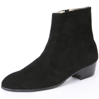Mens chic black real suede ankle boots high heels side zip hand made korea comfortable shoes