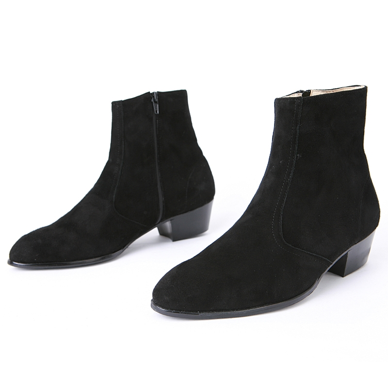 28cc854d51b Mens chic black real suede ankle boots high heels side zip hand made korea  comfortable shoes