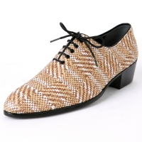 Mens round toe geometric patterned lace up high heels korea comfortable dress shoes US5.5-10.5