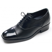 "Mens square toe black leather punching lace up hidden insole high heels 2.36"" elevator dress shoes US5-10 made in Korea"