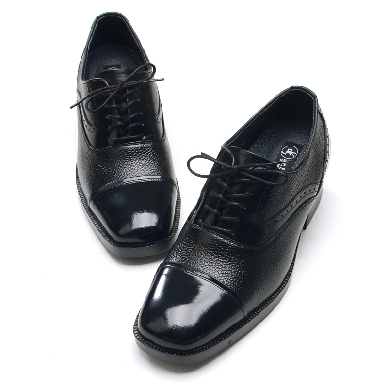 Mens Square Toe Black Leather Punching Lace Up Hidden Insole High Heels 2 36 Elevator Dress Shoes Us5 10 Made In Korea