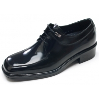 "Mens black leather square toe lace up high heels 2.36"" elevator dress shoes US5.5-10 made in Korea"