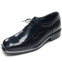 """Mens black leather square toe lace up high heels air pump insole 2.36"""" elevator dress shoes US5.5-10 made in Korea"""