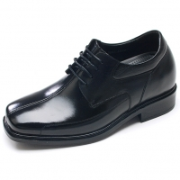 """Mens black leather square toe line stitch lace up high heels air pump insole 2.75"""" elevator dress shoes US5.5-10 made in Korea"""