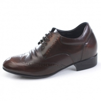 Mens brown leather raise round toe wing tip punching lace up high heels increase height elevator shoes US5.5-10 made in Korea