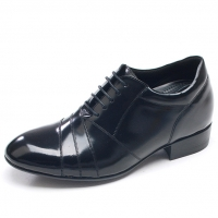 "Mens black leather diagonal stitch lace up hidden insole 3.2"" UP increase height elevator shoes US5.5-10 made in Korea"