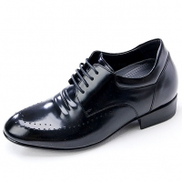 Mens black leather punching wrinkle lace up hidden insole increase height elevator shoes US5.5-10 made in Korea
