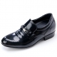 Mens black leather punching wrinkle horse bit decoration loafers increase height elevator shoes US5.5-10 made in Korea