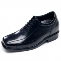 Mens square toe black real Leather increase height lace up dress elevator Shoes made in KOREA US 5.5 - 10