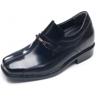 Mens black leather wide square toe hore bit decoration loafers increase height elevator shoes