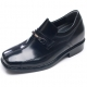 Mens black leather wide square toe horse bit decoration loafers increase height elevator shoes