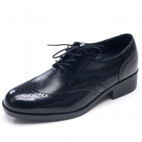 Mens wing-tip black real Leather increase height lace up dress elevator Shoes made in KOREA US 5.5 - 10