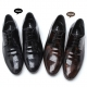 Mens black leather flat round toe punching stitch wrinkle lace up classic dress shoes