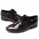 Mens brown leather flat round toe punching stitch wrinkle lace up classic dress shoes