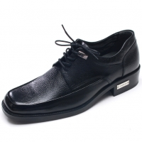 Mens square toe black cow leather lace up thick sole high heels stud dress shoes made in KOREA US 5.5 - 10.5