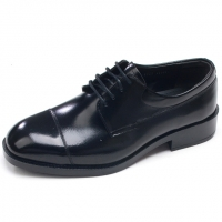 Mens straight tip round toe black cow leather lace up military officer dress shoes made in KOREA US 5.5 - 10.5