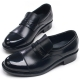 Mens straight tip two tone round toe black cow leather loafers high heels comfort shoes made in KOREA US 5.5 - 10.5