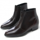 Mens chic brown leather round toe high heels side zip ankle boots US5.5-10 made in Korea
