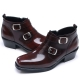 Mens chic brown leather square toe high heels side zip double buckle ankle boots US6.5-10.5 made in Korea