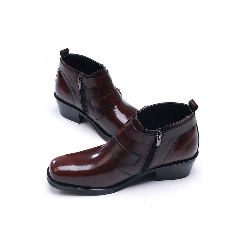mens buckle brown leather boots