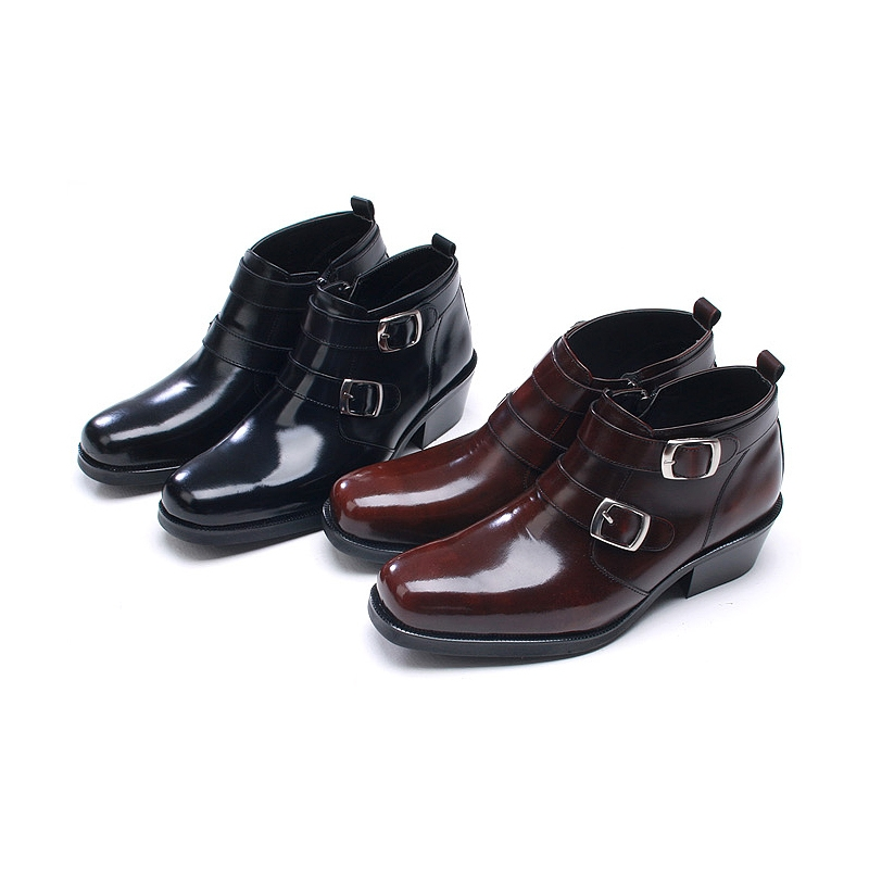 mens double buckle brown leather boots