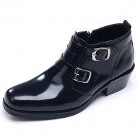Mens chic black leather square toe high heels side zip double buckle ankle boots US6.5-10.5 made in Korea
